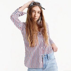 J. Crew Striped Classic Fit Boy Button Shirt 000